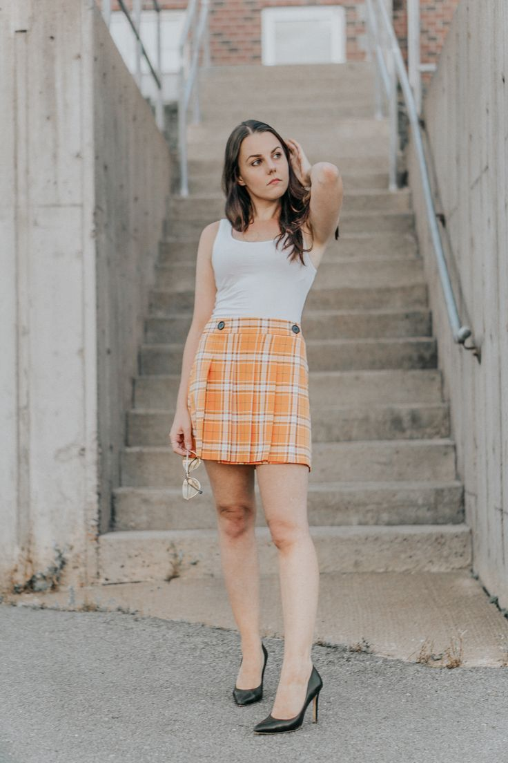 7770a180d2 Love this yellow plaid skirt outfit because it is inspired by a Clueless  aesthetic! (I'm a 90s baby). So when I saw this similar clueless yellow  plaid skirt ...
