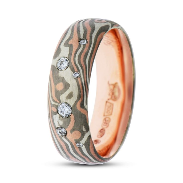 mens mokume three rings banded copy rhodium his tone products s band men ring of gane