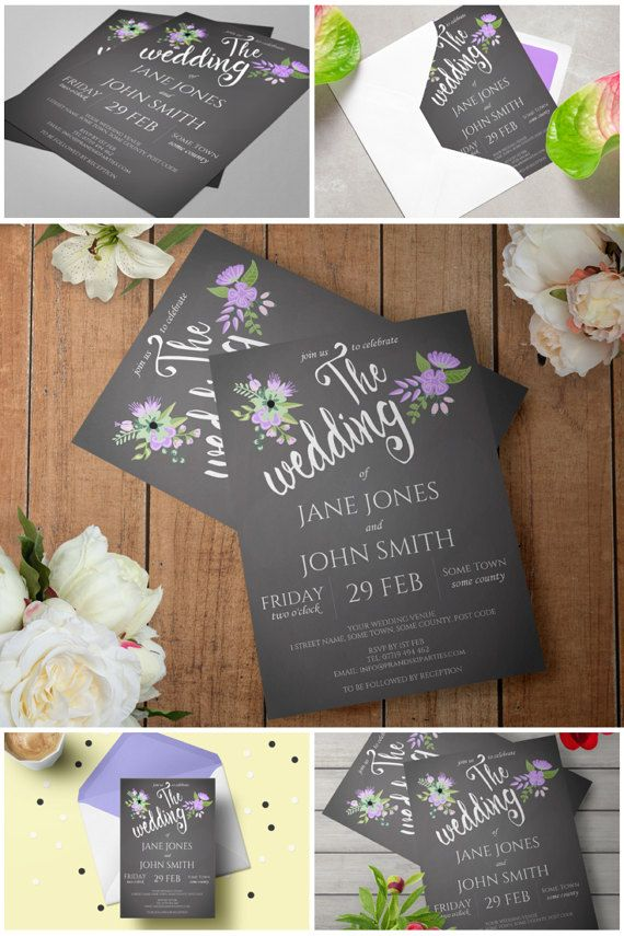 casual evening wedding invitation wording%0A Printable Lilac  u     Grey Floral Chalkboard Wedding Invitation  Wedding  Invitation Template  Rustic Wedding  Printable Invites  Boho Invites