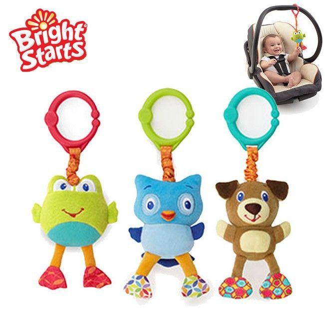 Candice guo! newest arrival Bright Starts animal frog owl dog take & shake baby toy gift 3pcs/lot