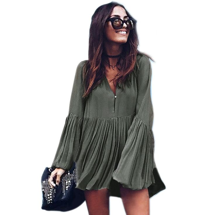 New Women's Fashion Autumn Casual Mini Dress Long Sleeve V-Neck Sexy Pleated Loose Vestidos Plus Size Streetwear Clothing