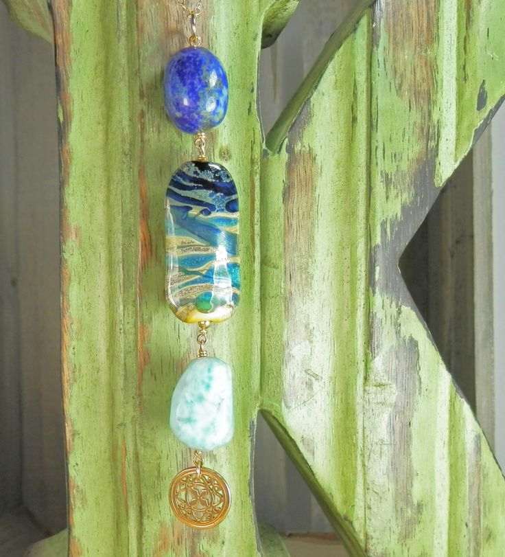 Artist Lampwork Glass, Lapis Lazuli, Bronze and Larimar  Pendant with Gold Filled Chain by KimFisher on Etsy