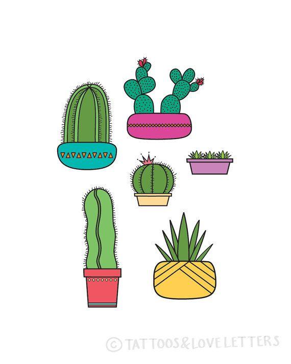 Succulents & Cactus Print   Handmade Prints Available at Pop Shop America $14