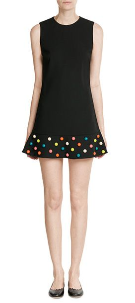 The color-pop embellishment that sits on the hem of RED Valentino's black dress is a statement detail that transforms the unfussy silhouette and classic color. Perfectly representative of the playful, girlish brand, you can wear it for day or night #Stylebop