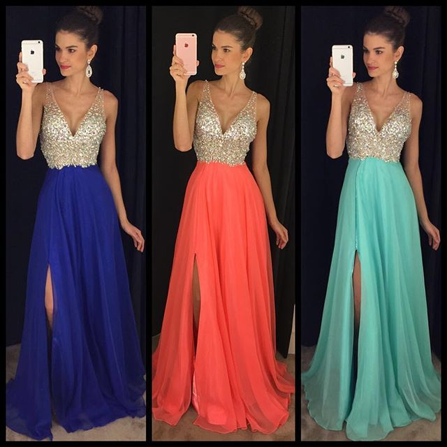 2016 New Chiffon Long Prom Dresses  http://banquetgown.storenvy.com/products/15978438-2016-new-chiffon-long-prom-dresses-v-neck-crystals-side-split-royal-blue-sex