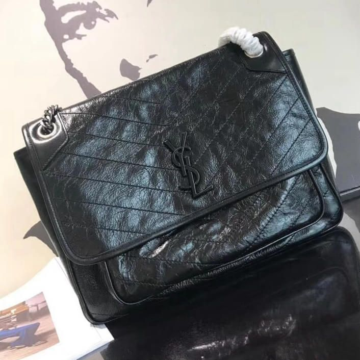 Saint Laurent Large Niki Chain Bag in Crinkled and Quilted Leather 4988830  Black 2018 0692f97252