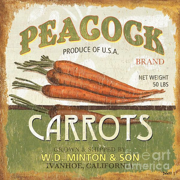 Vintage Can Vegetable & Fruit Labels - Peacock Carrots