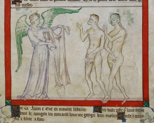 .British Library Royal MS 2 B VII Adam and Eve sont exclus du paradis. L'ange leur dit qu'ils devront avoir faim et froid et qu'il leur faudra travailler pour se nourrir et se vêtir !