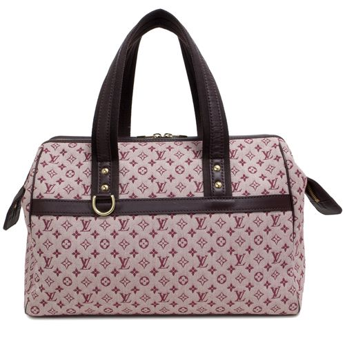 """Authentic Louis Vuitton Cherry Monogram Mini Lin Josephine GM  CONDITION: Very good. Faint markings on canvas, light markings on interior lining.  Material: Canvas Color: Cherry Date Code: SR0071 Exterior Features: Double top handles, zipped top opening, gold tone hardware Interior Features: Beige fabric lining, one zipped pocket, one slip pocket, one pouch pocket, D ring Measurements: 14"""" x 9.5"""" x 6.5"""" SKU: HA02096"""