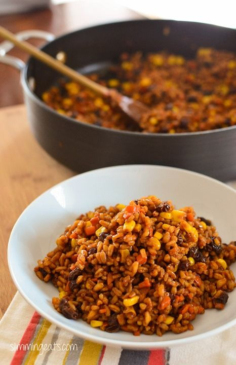 Slimming Eats Spicy Farro Risotto - vegetarian, Slimming World and Weight Watchers friendly