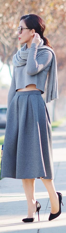 Gray Cropped Top And Gray Midi Full Skirt by Hallie Daily