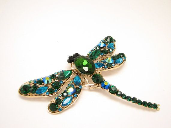 Green Dragonfly Large Brooch Insect Jewelry Broach by LiasJewelry