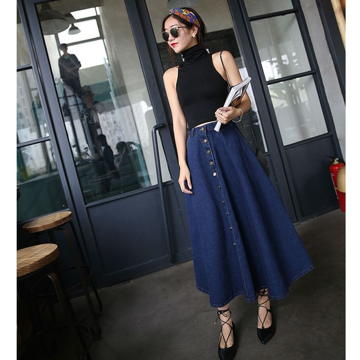 Autumn Winter Girl Skirt Jeans Pleated Skirts Women Casual Loose Denim Skirts High Waist Button Vintage Long Denim Jeans Skirts