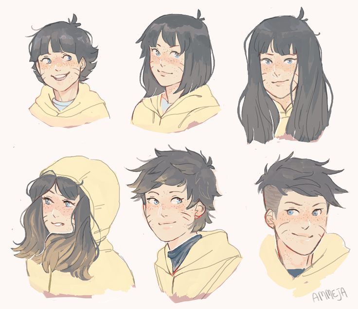 I feel like himawari would try out different hairstyles as she ...