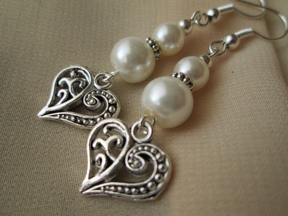 Wedding bridal earrings. Silver white pearls and heart by xabid, $14.99