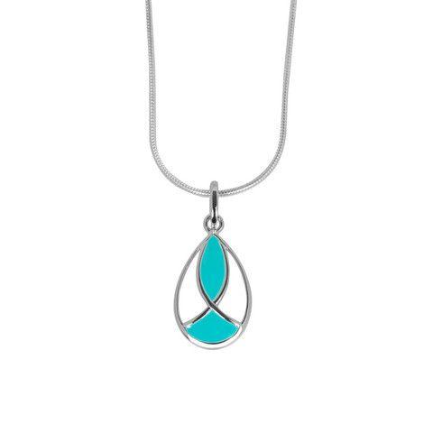 Emile pendant aqua | ANTIKA A sterling silver and aqua coloured resin pendant inspired by the French Art Nouveau glass artist, Émile Gallé, and its stylised organic form. The pendant is threaded on a sterling silver Giotto chain. Match the pendant with aqua coloured earrings or ring to form a set. The pendant is also available in white resin.