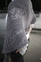 Waiting for Rain is a lovely, beautiful garter and lace crescent shawl that uses an unusual short row lace technique.