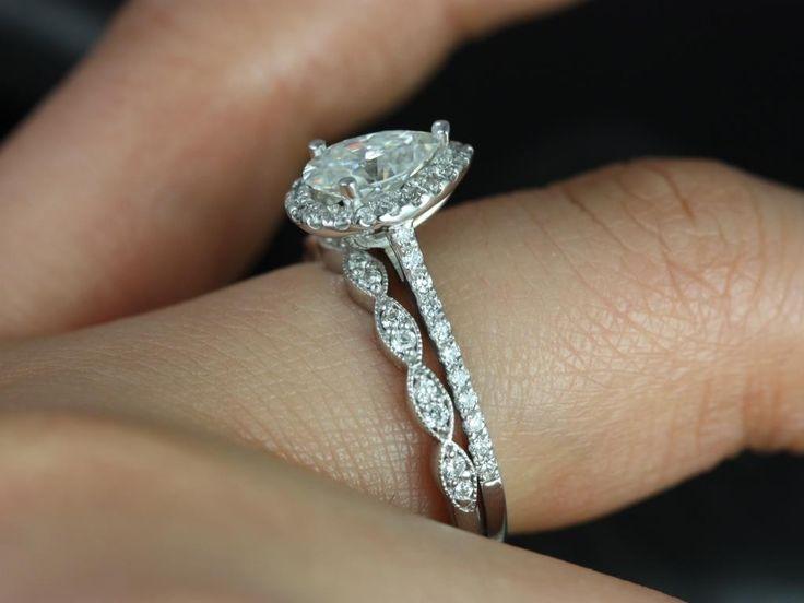 Tabitha & Christie White Gold Pear FB Moissanite and Diamonds Halo Wedding Set $1740