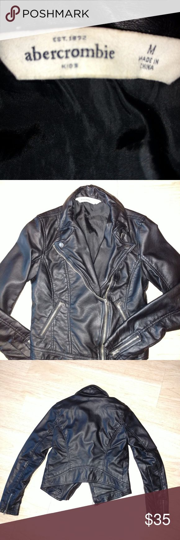 abercrombie girls leather jacket faux size medium Girls size medium Abercrombie faux leather Moto jacket excellent condition fits size 10/12 measures 16 inch length 13 inch chest abercrombie kids Jackets & Coats
