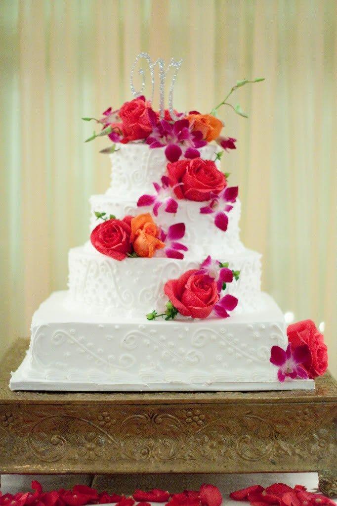 Pink and orange rose wedding cake 9