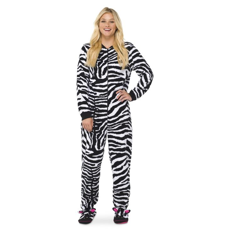 Women's Zebra Footie PJ Black/White Fashion, Pajamas