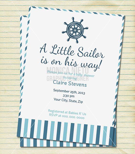 Custom Little Sailor Baby Shower Invitation