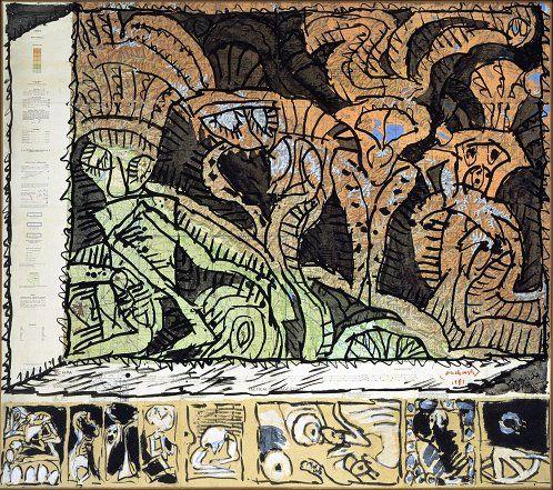 Pierre Alechinsky New Delhi surplombée, 1981-1982,  encre sur carte de navigation aérienne marouflée sur toile,  prédelle à l'acrylique, 130 x 146 cm,  collection particulière