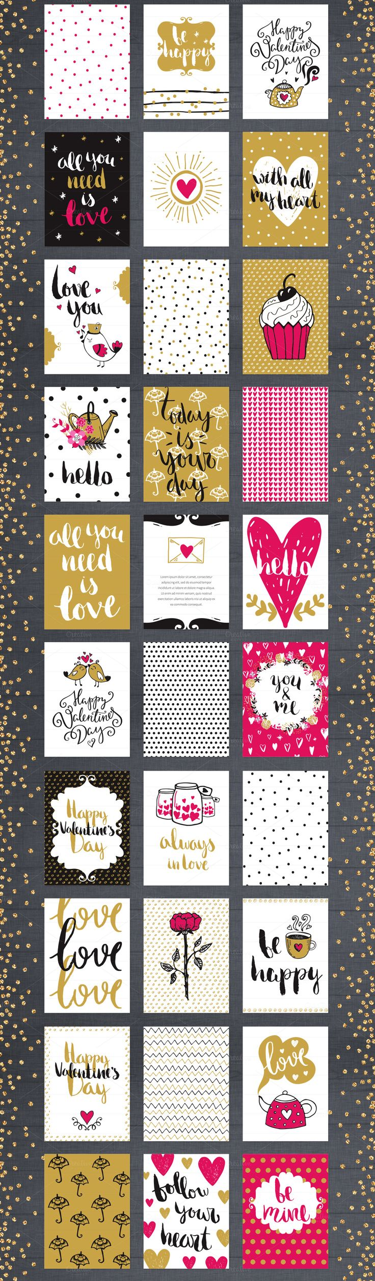 60 Valentine's Day Romantic Cards Collection. Hand drawn vector cute illustration set. Valentine's Day, Romantic and Wedding style. Love theme.