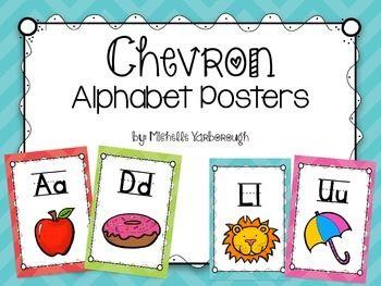 Chevron Alphabet Posters  https://www.teacherspayteachers.com/Product/Colorful-Chevron-Alphabet-Posters-1860121