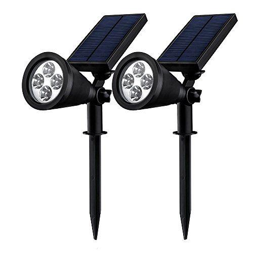 [Double Eclairage Exterieur LED] Mpow Lampe Solaire Jardin IP65 Certifié étanche 4 LED Soleil P2 Luminaire exterieur/ Spot exterieur 1.5w 200 Lumen puissante angle réglable de 90° sécurité avec 8-16 heures de durabilité pour jardin, escalier exterieur, cour, escaliers, clôture, patio comme applique exterieur