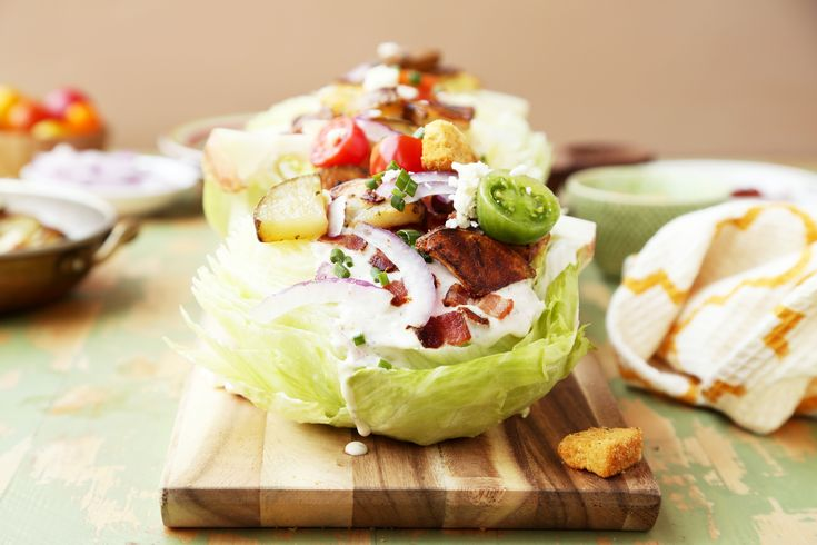 Roasted Idaho Potato Wedge Salad is a great way to shake up your salad game. Roasted potatoes are added to a classic wedge salad for that perfect balance!