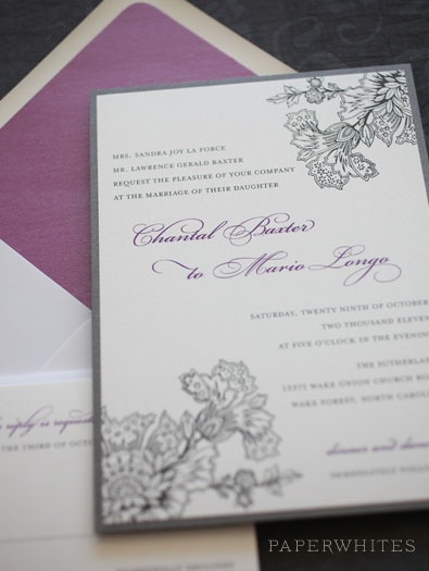 Our Caroline invitation was featured in Style Me Pretty's Best of 2010 magazine. This invitation is elegant with a touch of vintage lace pattern. Works great for any season.