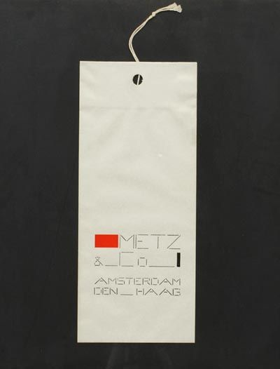 Packaging material Paper bag with rope with print Metz Co Amsterdam - Den Haag design Bart van der Leck for Metz Co the Netherlands 1952