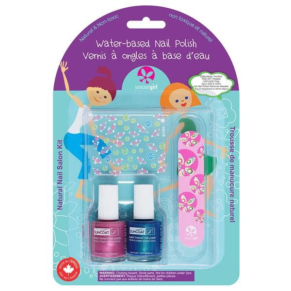 Suncoat $9.99  Little Mermaid Nail Kit In Suncoat's polish, the chemical solvents are replaced by water. Toluene and formaldehyde-free nail polish is only one step forward while Suncoat water-based nail polish is a revolutionary advance! Suncoat water-based nail polish contains about 70% water. When applied, water vapor is released in to the air, not chemical fumes.  Includes 0.27 oz. Peelable Nail Polish each of Mermaid Blue and Princess Dress, Nail Decals and Nail File.