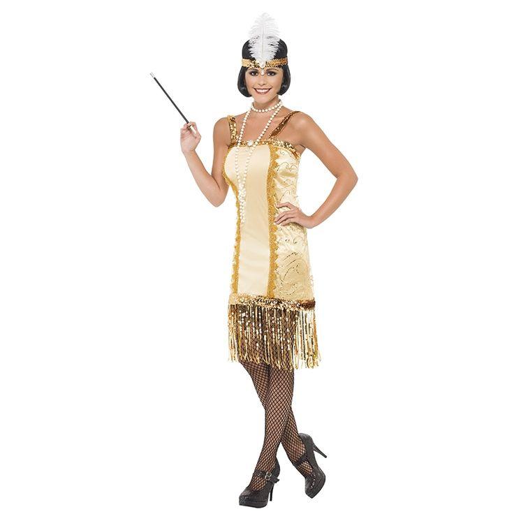 Charleston Flapper Gullkjole - 1920-talls kostyme for voksne | Festmagasinet Standard