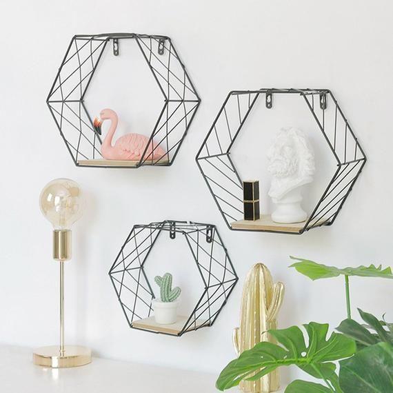 Geometric Wire And Wood Shelf Black Or White No Back Wall Shelf Decor Floating Shelves Wall Shelves