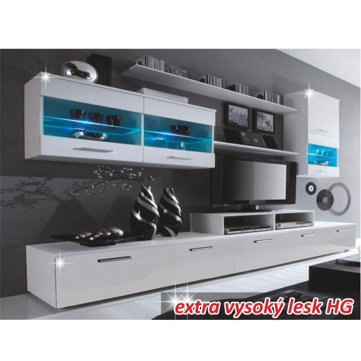 Obývací stěna LEO - bílá | Nábytek ATAN | Obývací pokoje
