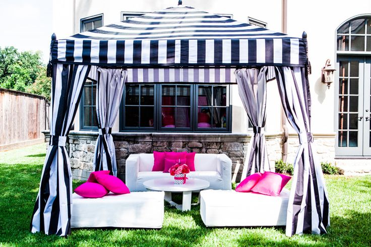 Amazing Black And White Striped Tent For A Hello Kitty
