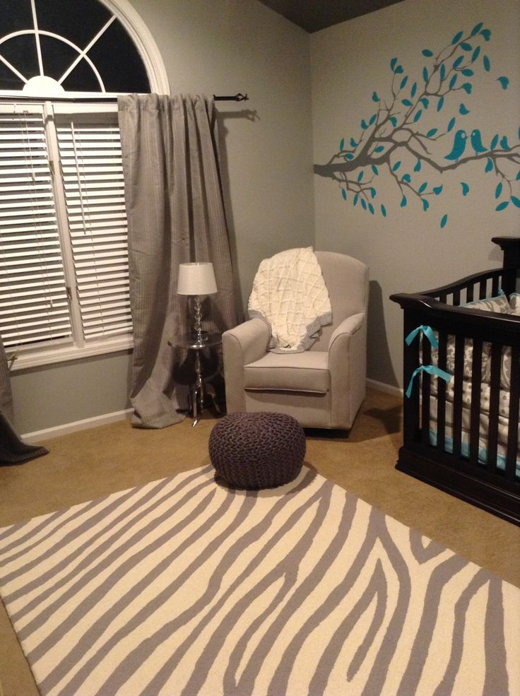 gray teal and cream nursery LOVE this