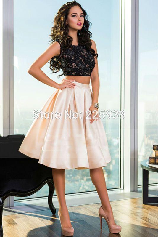 Yeni varış moda o boyun a hattı güzel dantel sparkly boncuklu kırpma üst 2 parça diz boyu kısa iki parçalı mezuniyet elbiseleri(China (Mainland))