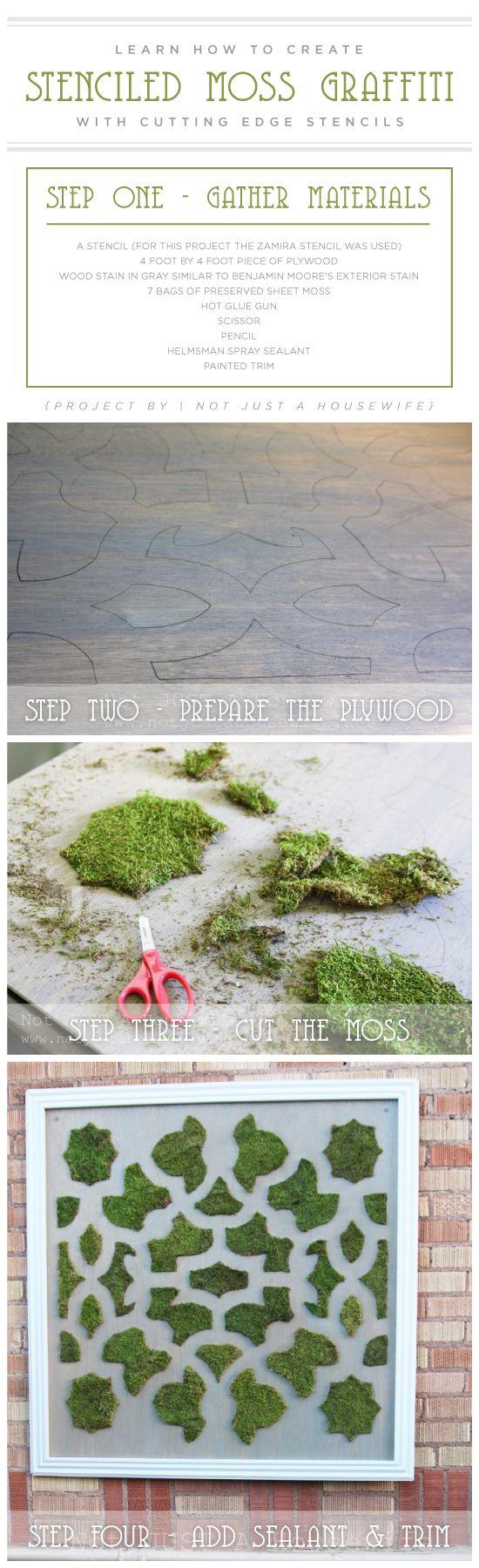 DIY stenciled moss graffiti using the Zamira Allover Stencil. http://www.cuttingedgestencils.com/moroccan-stencil-designs.html
