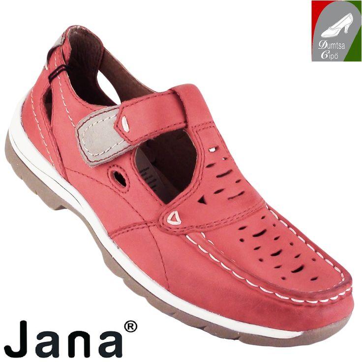 """Cikkszám: 8-24620-24 533 chili  Sportos, kényelmes tavaszi/nyári női bőr cipő , gyönyörű chili színben a Jana kollekciójából. A bőr talpbélés kivehető. A nyers bőr cserzésénél/festésénél  kizárólag növényi eredetű anyagokat használtak. A modell tépőzárral záródik, valamint """"H"""" szélességű, azaz szélesebb lábfejre ajánlott  anyaga:  felsőrész: bőr  belsőrész: bőr  talp: szintetikus  sarokmagasság: 2,5 cm  szín: chili  Ár: 22 990 Ft"""