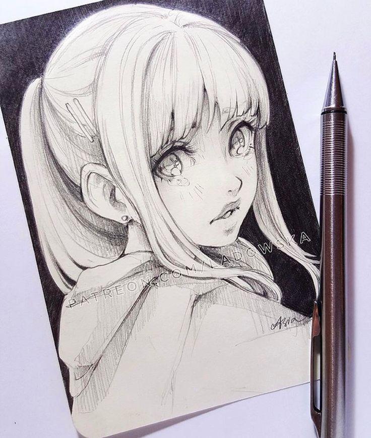 Рисунки аниме черной ручкой для начинающих