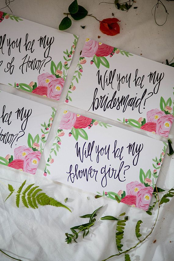 Will You Be My Bridesmaid Calligraphy Cards
