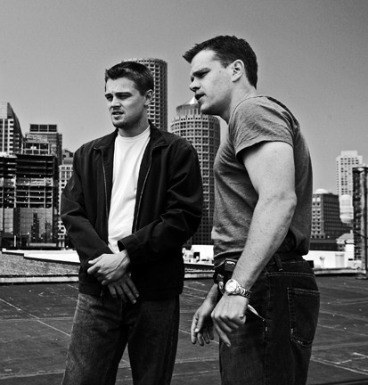 Leo DiCaprio and Matt Damon, filming The Departed.