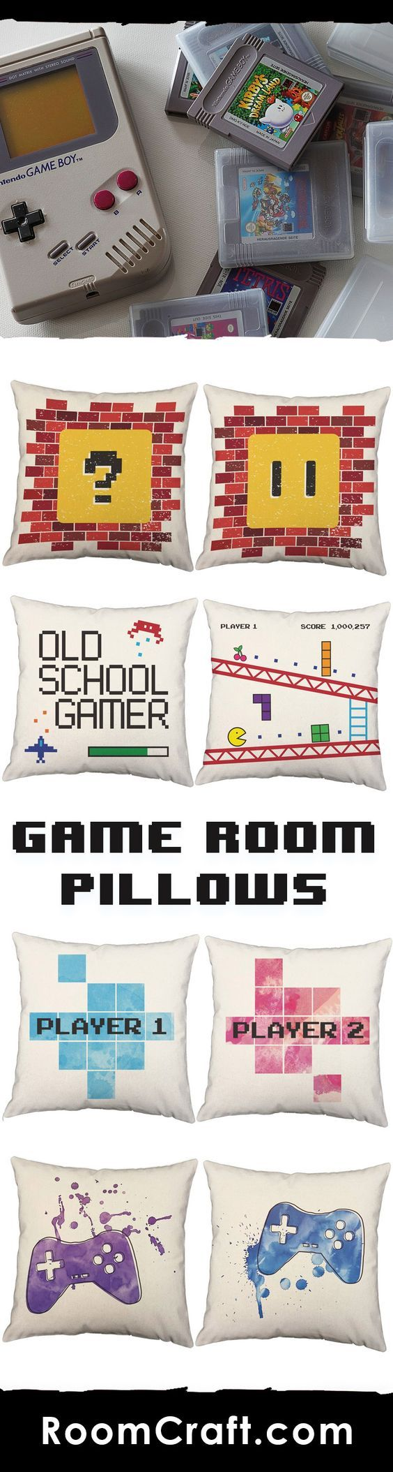 Whether you are catching them all or saving a princess, lean back and get comfortable with these gaming throw pillows. Each design is offered in multiple fabrics, colors, and sizes making them the perfect addition to any bedroom, game room, or man cave. Our quality gamer pillow covers are made to order in the USA and feature 3 wooden buttons on the back for closure. Choose your favorite and create a truly unique pillow set. #roomcraft