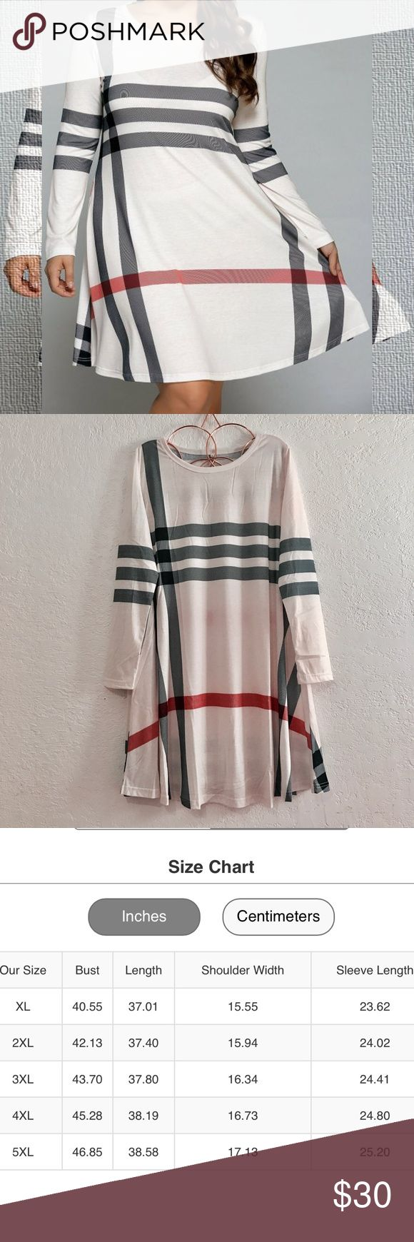 Off White Plaid Dress Haymarket Plaid Inspired T-Shirt Dress. A-Line silhouette, poly/cotton/spandex blend, knee length casual dress. Firm Price ~ No Offers ~ No Trades Plus Size Boutique Dresses