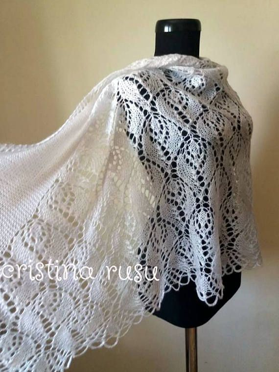 White knit lace shawl hand knitted lace stolemohair shawl