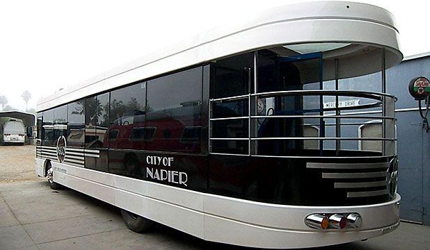 Art deco style bus in Napier #artdeco #napier