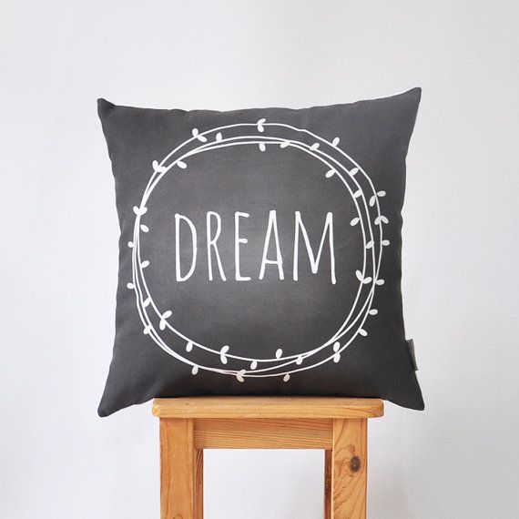 "dream pillow :: Modern Kids Cushion Cover, Nursery Pillow, Decorative Pillow, Teen Pillow, Throw Pillow, Chalkboard Pillow 16"" x 16"""